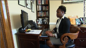 Marchelle Roberts, who grew up in foster care, is now an intern on Capitol Hill.\n