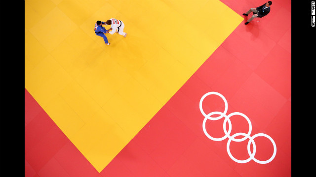 Two athletes compete in the men's judo event.
