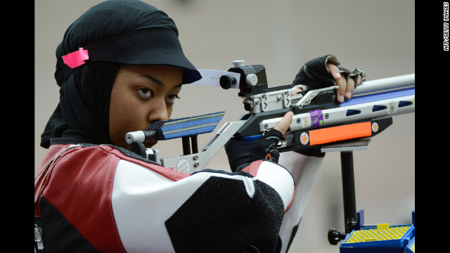 Qatari shooter Bahya Mansour al-Hamad competes during the 10 meter air rifle women's qualification.