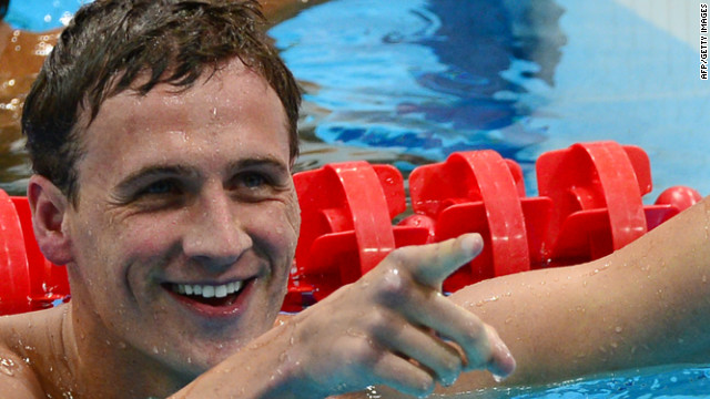 Lochte reacts after winning the men's 400-meter individual medley final. U.S. teammate and competitor Michael Phelps finished fourth.