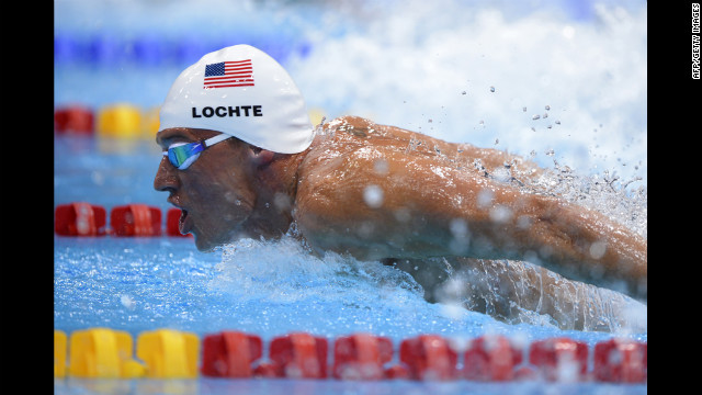 U.S. swimmer Ryan Lochte competes in the men's 400-meter individual medley heats.