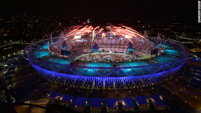 Fireworks light up the sky during the opening ceremony. Check out photos from the <a href='http://www.cnn.com/2012/08/12/world/gallery/olympic-closing-ceremony/index.html' target='_blank'>closing ceremony.</a>