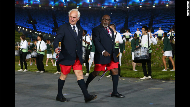 In what's become an Olympic tradition, members of the Bermudan delegation once again forget their trousers.