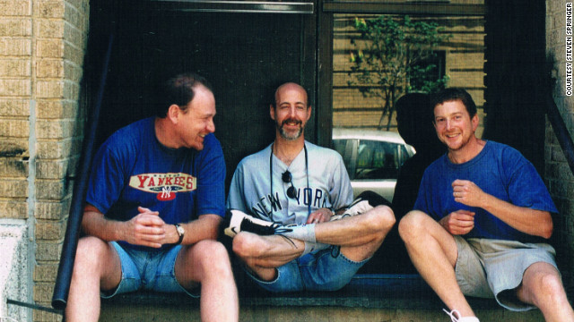In 1991, none of the men had kids. But by 2001, between the three friends there were six kids. Only the three are featured here, but the reunion involves extended family and friends posing on the stoop.