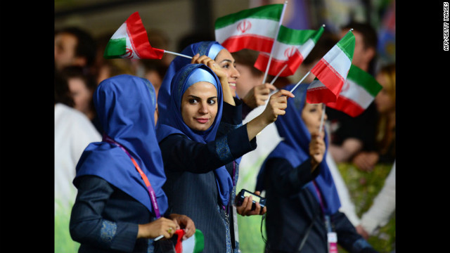 Members of Iran's delegation parade during the opening ceremony.