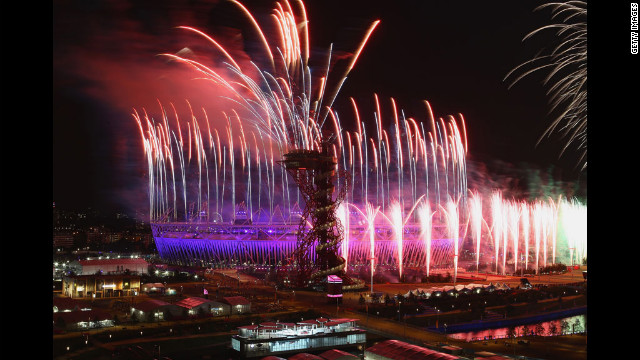 Fireworks over the Olympic Stadium.