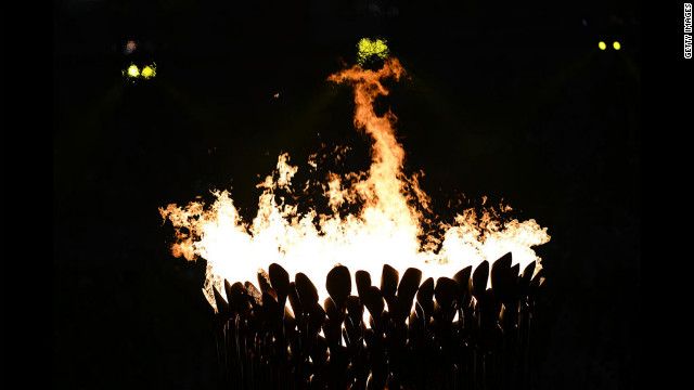 The Olympic cauldron is lit.