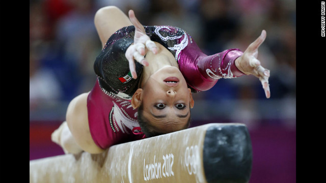 Elsa Garcia Rodriguez Blancas of Mexico performs on the balance beam during the women's qualification of the artistic gymnastics event.