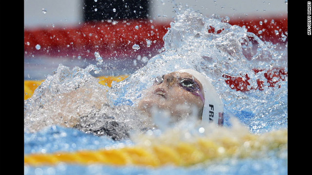 U.S. swimmer Missy Franklin competes in the women's 100 meter backstroke.