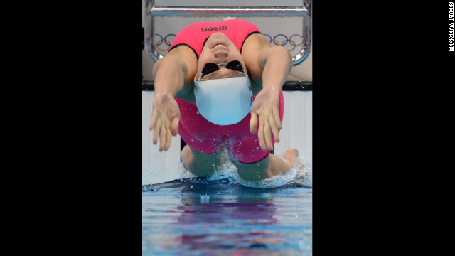 Anastasia Zueva of Russia competes in the women's 100 meter backstroke.