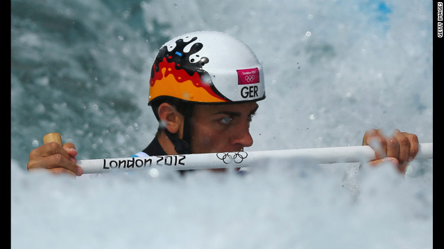 Germany's Sideris Tasiadis competes during the men's canoe single slalom.