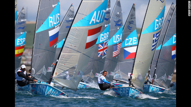 Greece's Ioannis Mitakis competes in the Finn class race at Weymouth Harbour.