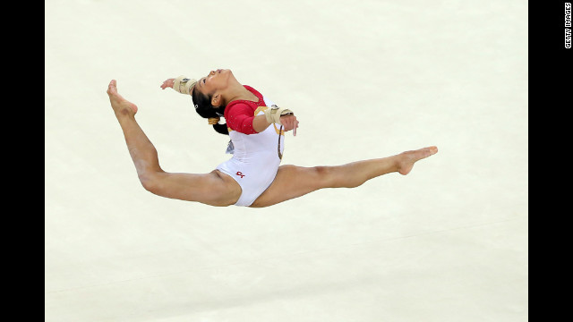 Heem Wei Lim of Singapore competes in the floor exercise of the artistic gymnastics women's qualification round.