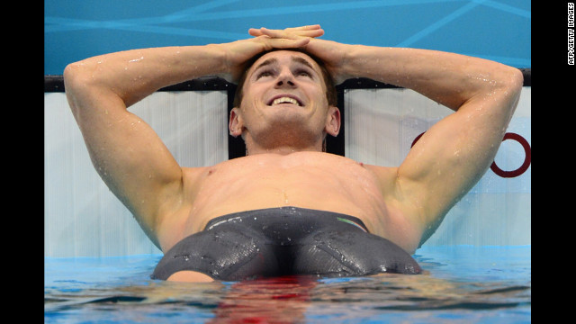 South Africa's Cameron Van der Burgh celebrates after breaking the world record in the men's 100-meter breaststroke at the London Olympics on Sunday, July 29. Check out Day 1 of competition from Saturday, July 28. The 2012 Summer Olympics ran through August 12.