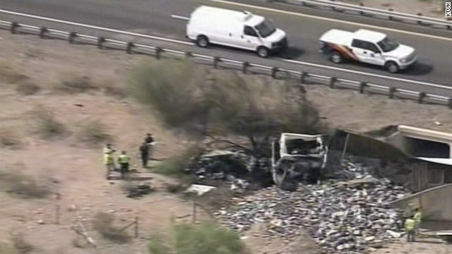 Both the semi and the van went off the right side of the road and caught fire after the crash.
