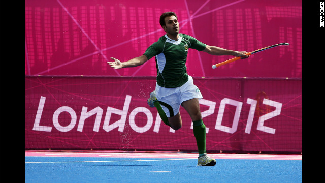 Rehan Butt of Pakistan celebrates his goal against Spain during the men's field hockey match Monday.