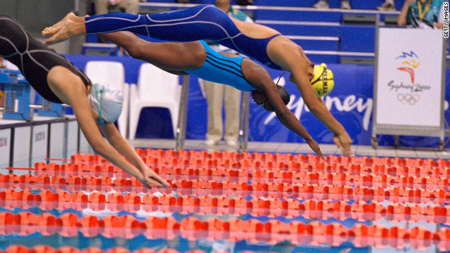 There was one other swimmer from Equatorial Guinea at Sydney. Paula Barila Bolopa swam in the women's 50 meters freestyle and also came last in a record time of one minute 3.93 seconds. It was twice the previous worst time in the event.