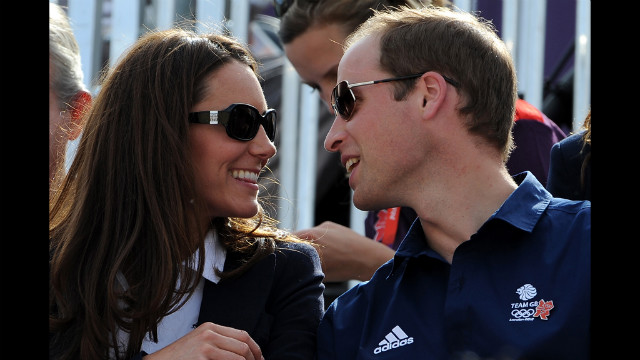 Catherine, duchess of Cambridge, and Prince William, duke of Cambridge, watch the cross-country equestrian competition Monday. William's cousin Zara Philips, daughter of Princess Anne, rode for Great Britain in the event.
