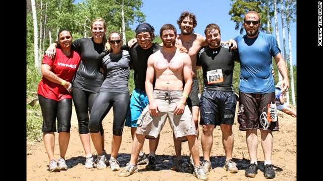 Teves, center, took part in a Tough Mudder obstacle course designed by British special forces to test endurance and teamwork.