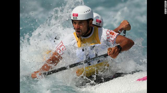 Mikhail Kuznetsov and Dmitry Larionov of Russia compete during the men's canoe double slalom heats on Monday.