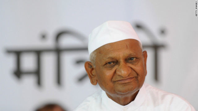 Activist Anna Hazare began his hunger strike in New Delhi, pressing the government to stop corruption.