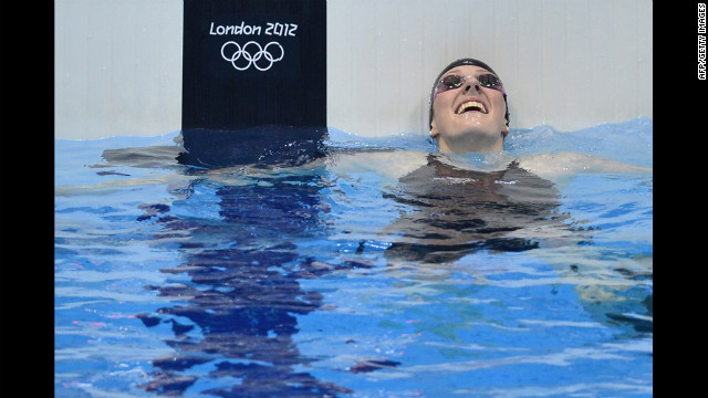 U.S. swimmer Missy Franklin celebrates winning the women's 100-meter backstroke final swimming event at the London 2012 Olympic Games on Monday, July 30.