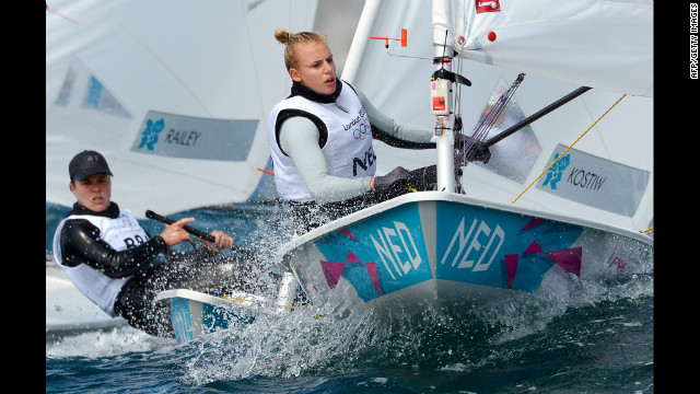Marit Bouwmeester of the Netherlands rounds a mark in the laser radial sailing class 