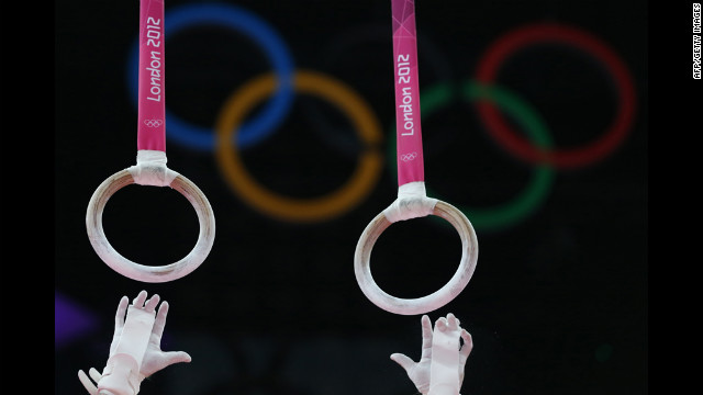 U.S. gymnast Jonathan Horton competes on the rings during the men's team final of the artistic gymnastics event.