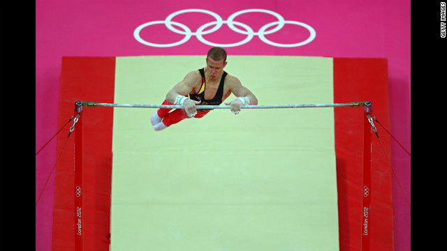 Fabian Hambuchen of Germany competes on the horizontal bar in the artistic gymnastics men's team final