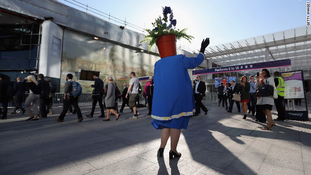 A friendly triffid welcomes visitors to London Bridge station.