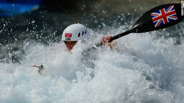 British canoeist Lizzie Neave suddenly realizes she left her boat back at the hotel.
