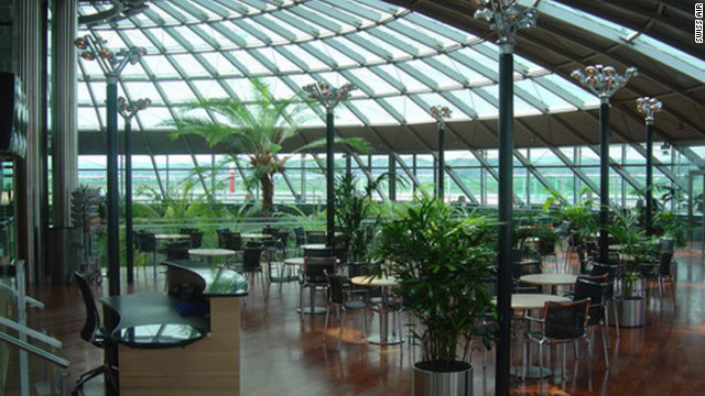 The Swiss Air lounge at EuroAirport Basel-Mulhouse-Freiburg (near the borders of Switzerland, France and Germany) is known for open architecture and bright, simple materials.