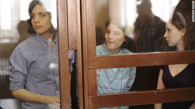 Members of Pussy Riot, Nadezhda Tolokonnikova (L), Maria Alyokhina (R), and Yekaterina Samutsevich (C), in court on Monday.