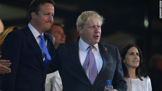Responding to Romney's jibe, Britain's Prime Minister David Cameron (L) said, &quot;Of course it's easier if you hold an Olympic games in the middle of nowhere,&quot; a reference to Romney's involvement in the 2002 Games in Salt Lake City, Utah. London mayor Boris Johnson (R) also mocked Romney in front of tens of thousands of people in London's Hyde Park.