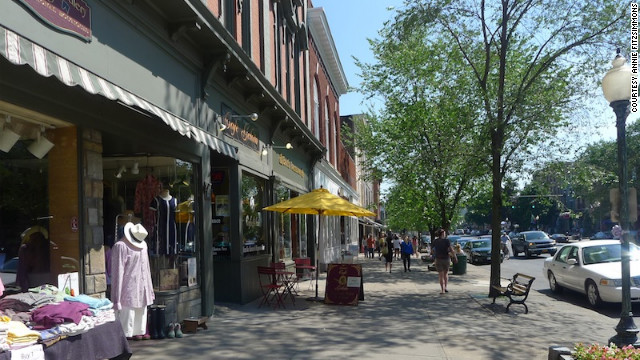 Shopping and restaurants line the streets in downtown Saratoga Springs.