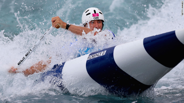 David Florence of Great Britain paddles through in the men's canoe single slalom semifinal Tuesday.