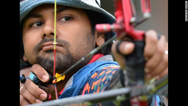 India's Rahul Banerjee competes in the men's individual elimination archery event at Lord's Cricket Ground on Tuesday.