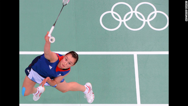 Britain's Susan Egelstaff returns the shuttlecock during a women's singles badminton match Tuesday.