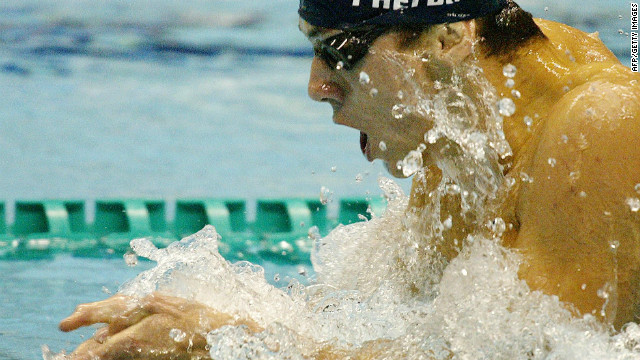 Michael Phelps of the U.S. swims his way to win the men's 200-meter individual medley final at the Pan Pacific Swimming Championships in Yokohama, Japan on 29 August 2002. Phelps won the final smashing his own record set the previous year with the championship record time of 1 minute 50.70 seconds.