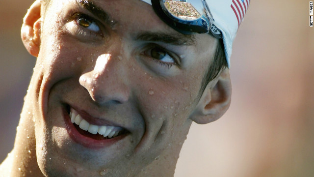 Michael Phelps smiles after winning the 200-meter butterfly final during the U.S. Swimming Olympic Team Trials on July 10, 2004 at the Charter All Digital Aquatic Center in Long Beach, California.
