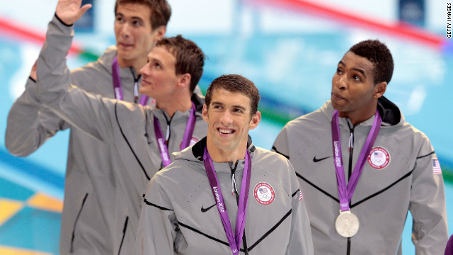 Phelps celebrates with the rest of the swimming team from the U.S. (Adrian Nathan (L), Ryan Lochte (2nd L) and Cullen Jones) after winning the silver medal in men's 4 x 100m Freestyle Relay final.