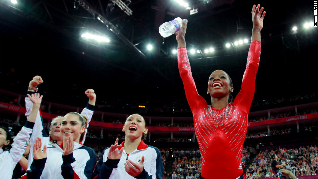 McKayla Maroney (from left), Kyla Ross and Gabrielle Douglas of the United States celebrate during the gymnastics women's team final.
