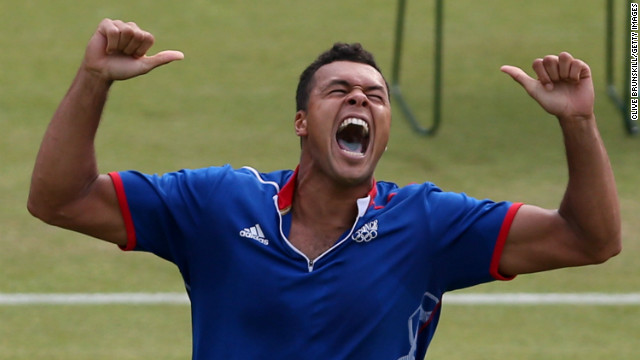 Jo-Wilfried Tsonga shouts for joy as he finds the shot that seals victory in the longest Olympic tennis match. The match lasted just under four hours and the final set ended 25-23 to the fifth-seeded Frenchman.