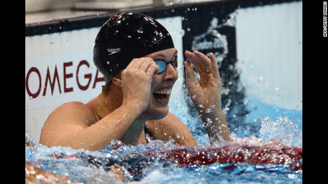 American swimmer Allison Schmitt celebrates after winning the 200-meter freestyle final.