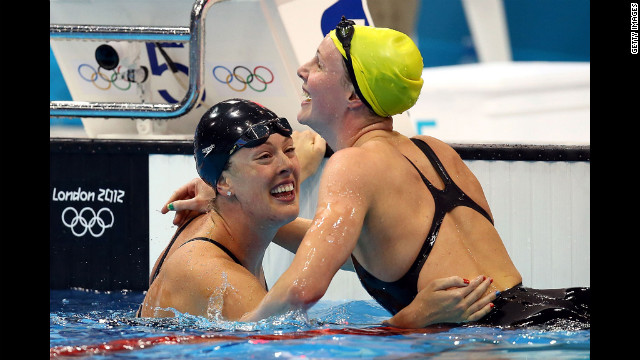 Allison Schmitt, left, is congratulated by Bronte Barratt of Australia after her win.