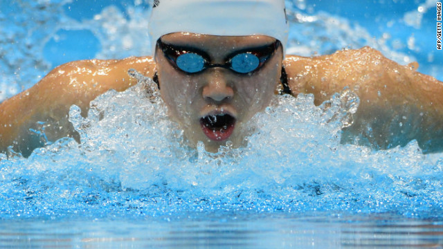 China's Ye Shiwen competes in the women's 200m individual medley where she took first place on the podium. Three days earlier she had also won the gold medal in the 400m individual medley. In the process of going for first, she also broke the world record with a time of 4:28:43 (previously held by Australia's Stephanie Rice).