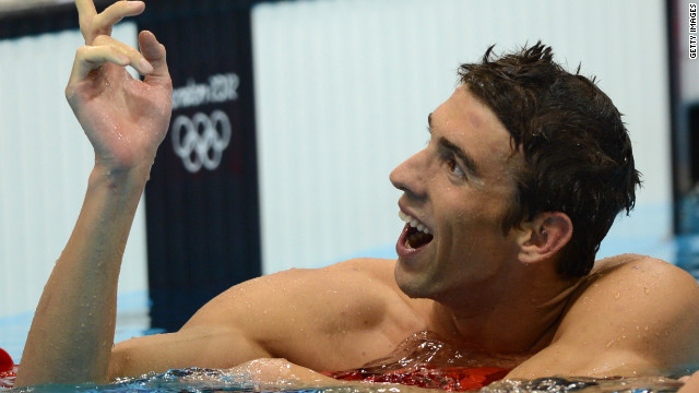 Phelps celebrates after becoming the most decorated Olympic athlete in history winning his 19th medal in the men's 4 x 200-meter freestyle relay final at the London Games on July 31, 2012.