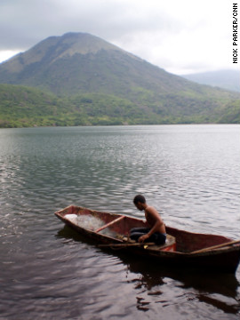 Tourists can get on the water at Laguna del Tigre, a volcanic crater lake near Leon.
