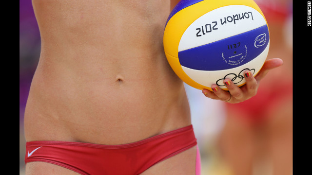 As usual, nobody -- not even photographers -- pays attention to the competition at beach volleyball.