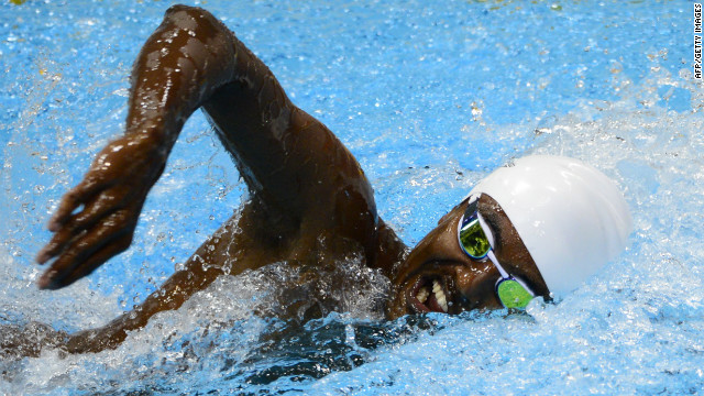 Ahmed Husam of the Maldives competes in the men's 100-meter freestyle heat Tuesday.